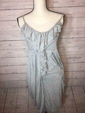 maurices Draped Ruffle Gray Medium Dress