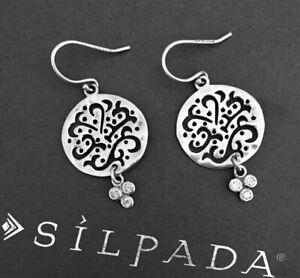 SILPADA Sterling Silver FILGREE CUT ABOVE Cubic Zirconia Earrings~W2368~RETIRED!