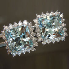 3.80 Ct Natural Diamond Real Aquamarine Gemstone Earrings 14K Solid White Gold