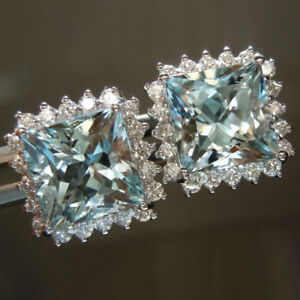 3.00 Carat Aquamarine 0.80 Ct Diamond Solid 14K White Gold Bridal Earrings Studs