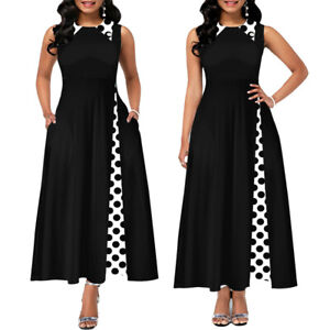 Womens Polka Dot Vintage Sleeveless Long Maxi Summer Casual Party Cocktail Dress