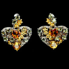 NATURAL GOLDEN YELLOW CITRINE & GREEN PERIDOT STERLING 925 SILVER EARRINGS