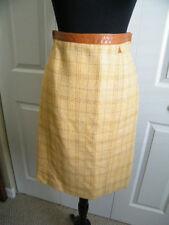 Carolina Herrera NY Golden Alpaca Wool Tweed Plaid Pencil Skirt logo lined SZ 6