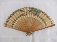 Vintage années 1930 Bois & Papier Peint Fan-japonais geisha girl