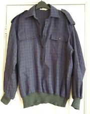 vintage Guy Laroche oversize wool top blue grey check military 12