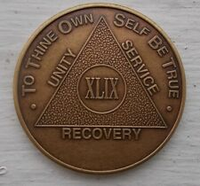 AA New Bronze Alcoholics Anonymous 49 year coin medallion