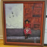 Vintage Beautiful Peruvian Girl Oil on Canvas Signed