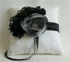 Black & White Ring Bearer Pillow Lace Ruffle Organza Flower Rhinestone Handmade