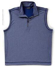 ROUNDTREE & YORKE men's Quarter Zip Pullover SWEATER VEST Mock Neck Blue LARGE
