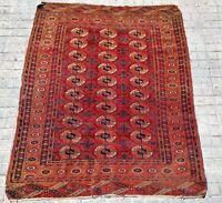 CARPET TEKKE. WOOL KNOTED BY HAND. TEKKE. TURKMENISTAN. XIX-XX CENTURY