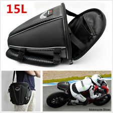 NEW 15L Motorcycle PU Leather Rear Seat Tail Bag Shoulder Backpack Carry Luggage