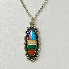 Inlaid Malachite Turquoise Lapis Pendant Vintage Native American Sterling Silver