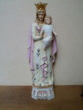 La Vierge et l'enfant - Ancienne statue en porcelaine H : 44 cm - Numérotée 3622