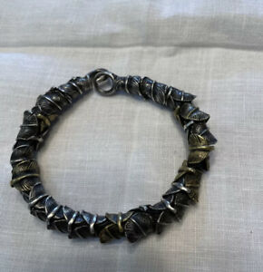 Authentic M. Cohen Handmade Designs Silver And Brass Feather Bracelet