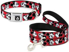 Buckle Down Seatbelt Dog Collar or Leash Mickey Mouse Red Disney - Made in USA
