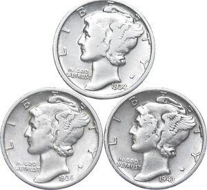 Lot of 3 AU/Unc 1934, 1936, 1943-D Mercury Dimes 90% Silver Collection *906