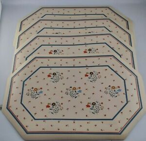Vtg Vinyl Placemats 80s Town And Country Linen