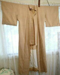Vintage Japanese Gold Colour Full Length Kimono 153cm