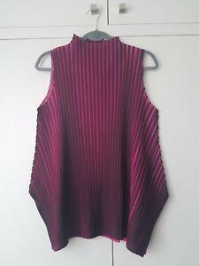 ISSEY MIYAKE PLEATS PLEASE Black & Pink Top Tunic Sleeveless Size 5 VGC