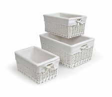 Nursery Storage Organization Wicker Basket Set Baskets Changing Table 3 White