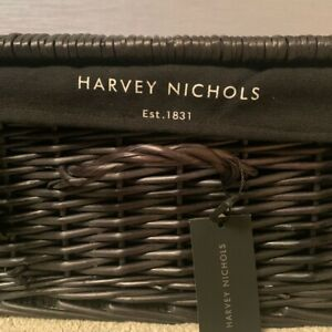 Harvey Nichols Large Black Wicker Hamper
