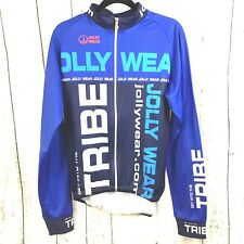 Jolly Wear Cycling Fleece Jersey Jacket XL Blue Get Into The Tribe NWOT