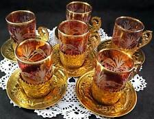 Handmade Brass & Glass Arabic Turkish Tea Cups And Saucers Set For Six People