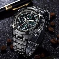 Wasserdicht Uhr LED Herrenuhr Armbanduhr Schwarz Edelstahl Quarzuhr Sport-uhr be