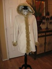 WOMENS BEIGE FAUX SUEDE JACKET JONES NEW YORK = SIZE Small Faux Fur Lined Hooded