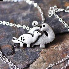 925 Silver Plt Cute Dinosaur Necklace Pendant Girls ladies Gift Mother & Child