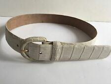 Donna Karan New York Genuine Crocodile White Belt S  EC