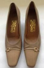 SALVATORE FERRAGAMO tan beige snake skin cap toe heel pumps shoes 7 1/2 narrow