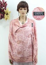 Light Coral Double Side Colored Floral Design Cashmere Pashmina Shawl Scarf Wrap