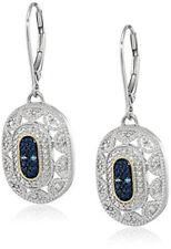 Women's 14k Yellow Gold / 925 Silver blue Pendant Art Deco Style Drop Earrings