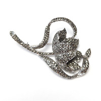 Marcasite Flower Brooch Vintage Silver Tone Floral Lapel Pin Mid Century Jewelry