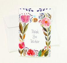 5 Thank You Teacher Floral Greeting Cards for Appreciation Cute Thanks TEACHER18