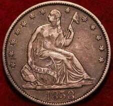 1858-O New Orleans Mint Silver Seated Liberty Half Dollar