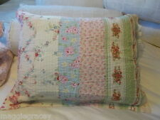 1 SHABBY BEACH COTTAGE BELLA BLUE PINK ROSES TICKING GREEN CHIC PILLOW SHAM NEW!