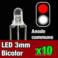 731/10# 10pcs LED bi-color anode commune 3mm blanc - rouge - idéal digital