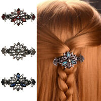 3pack Vintage Metal Hair Clip Claw Flower Diamante Crystal Clamp for Womens