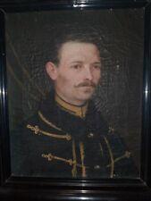 Huile sur toile - Portrait homme militaire XIXeme «Hussard de la mort»