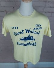 Vintage 1983 Paper Thin Great Wabash Cannonball T Shirt 80s Xl Fishing River