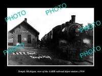 OLD LARGE HISTORIC PHOTO OF TEMPLE MICHIGAN THE RAILROAD DEPOT STATION c1910