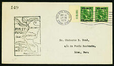 1929 FIRST FLIGHT F.A.M. 9-2e. CHRISTOBAL TO LIMA - C1 FRANKING (ESP#2023)