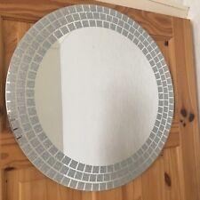SILVER GLITTER mosaic MIRROR 50CM ROUND silver sunburst dressing WALL MIRROR