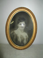 """Antique Oval Wooden Bubble Glass Picture Frame & B & W Picture, 23"""" x 16 1/2"""""""