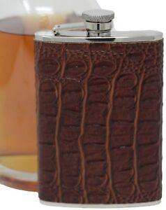 8 oz Brown Crocodile Leather Pattern Alcohol Liquor Flask