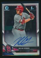NOLAN GORMAN AUTO 2018 1st Bowman Draft Chrome Autograph Cardinals Rookie RC QTY