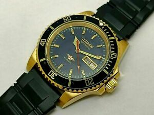 Citizen Sports 8200 Automatic Men's Gold Plated Day Date Vintage Watch Run Order