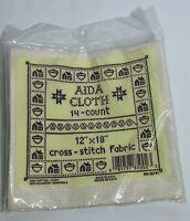 "AIDA Cloth 14-count 12"" x 18"" Cross Stitch Ivory Color 100% Cotton Fabric USA"